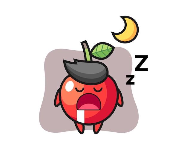 Illustrazione di carattere ciliegia che dorme di notte, stile carino design Vettore Premium
