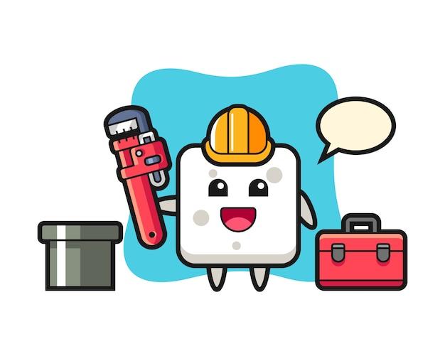 Illustrazione di carattere del cubo di zucchero come idraulico, stile carino per t-shirt, adesivo, elemento logo Vettore Premium