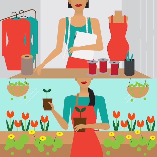 Illustrazione di carattere dello stile di vita della donna Vettore gratuito