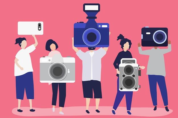 Illustrazione di carattere di fotografi con telecamere Vettore gratuito