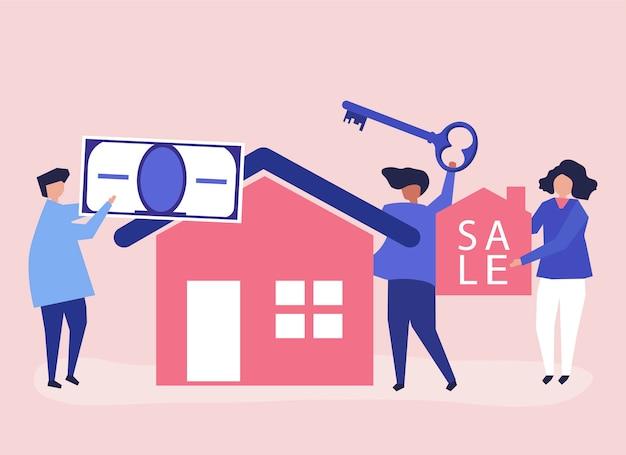 Illustrazione di carattere di persone che vendono casa Vettore gratuito