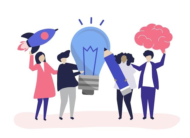 Illustrazione di carattere di persone con icone di idee creative Vettore gratuito