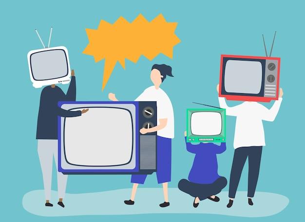 Illustrazione di carattere di persone con icone tv analogiche Vettore gratuito