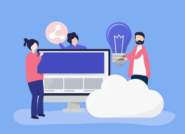 Illustrazione di carattere di persone con le icone di tecnologia Vettore gratuito