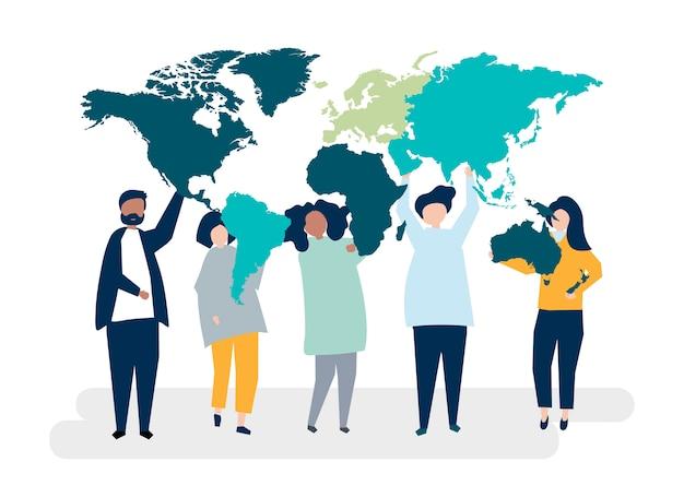 Illustrazione di carattere di persone diverse e il mondo Vettore gratuito