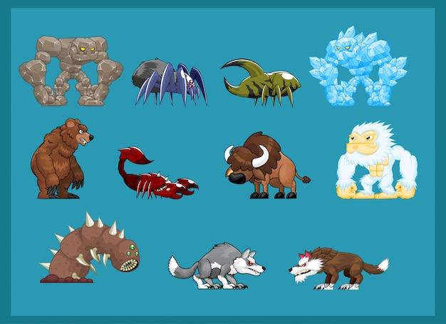 Illustrazione di carattere mostro bestia Vettore Premium
