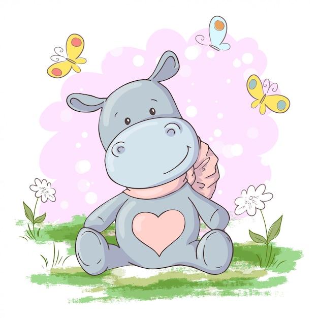 Illustrazione di carino, ippopotamo fiori e farfalle in stile cartone animato. vettore Vettore Premium