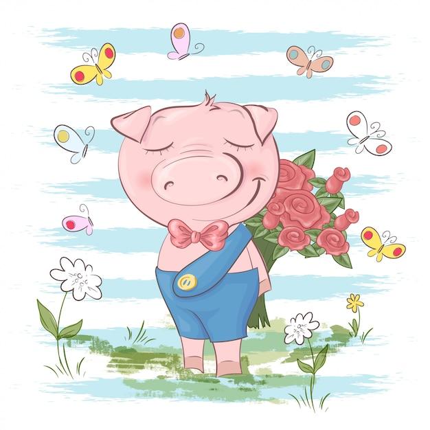 Illustrazione di carino maiale fiori e farfalle. stile cartone animato Vettore Premium