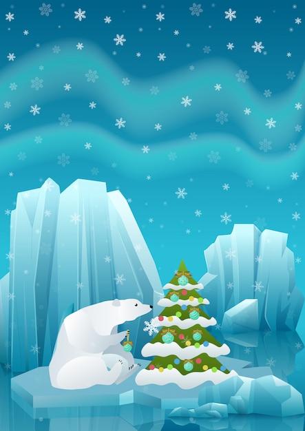 Illustrazione di carino orso polare seduto nel ghiaccio e decorare l'albero di natale con la palla Vettore Premium