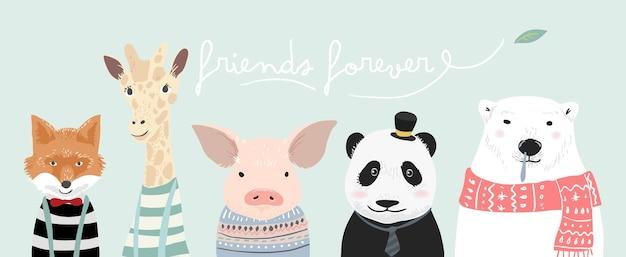 Illustrazione di cartone animato animale carino Vettore Premium