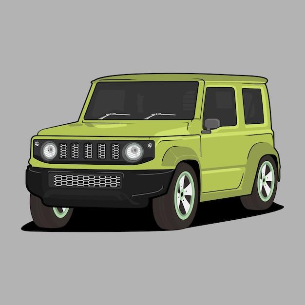Illustrazione di cartone animato auto, suzuki jimny classica auto retrò vintage Vettore Premium