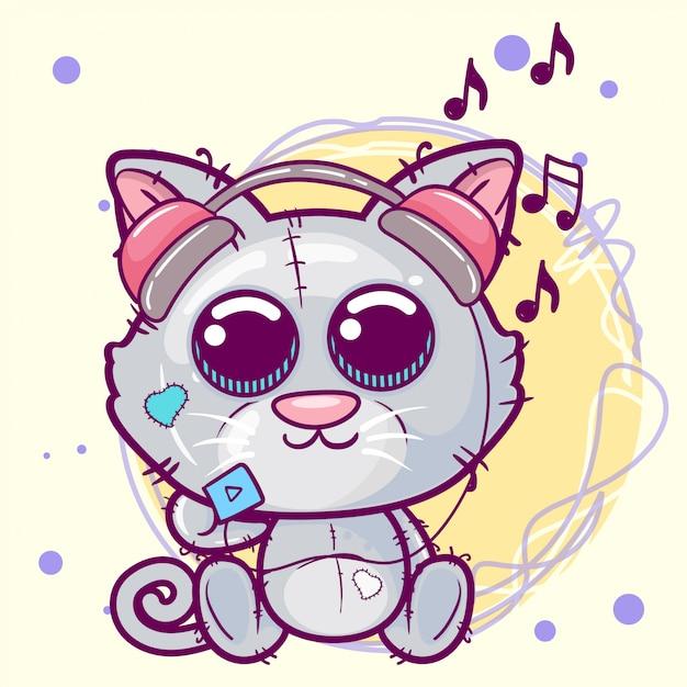 Illustrazione di cartone animato carino gattino Vettore Premium
