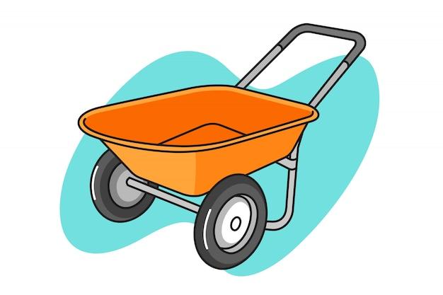 Illustrazione di cartone animato carriola Vettore Premium