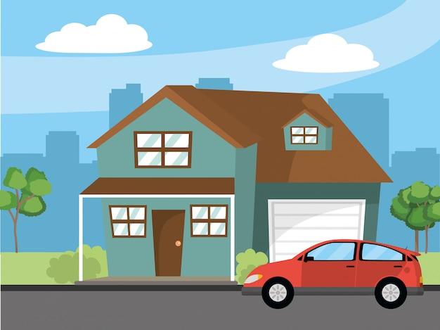 Illustrazione di cartone animato casa casa Vettore Premium