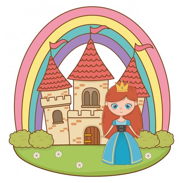 Illustrazione di cartone animato principessa medievale Vettore Premium