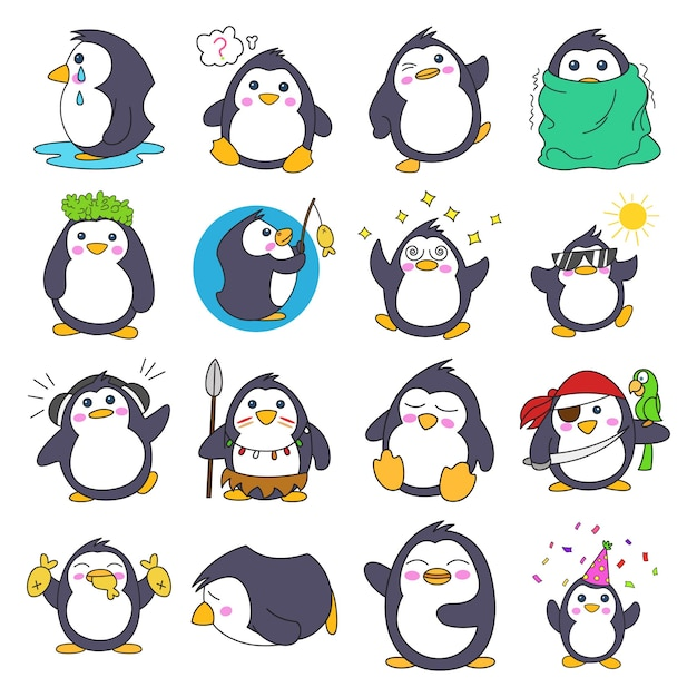 Illustrazione di cartoon penguin set Vettore Premium