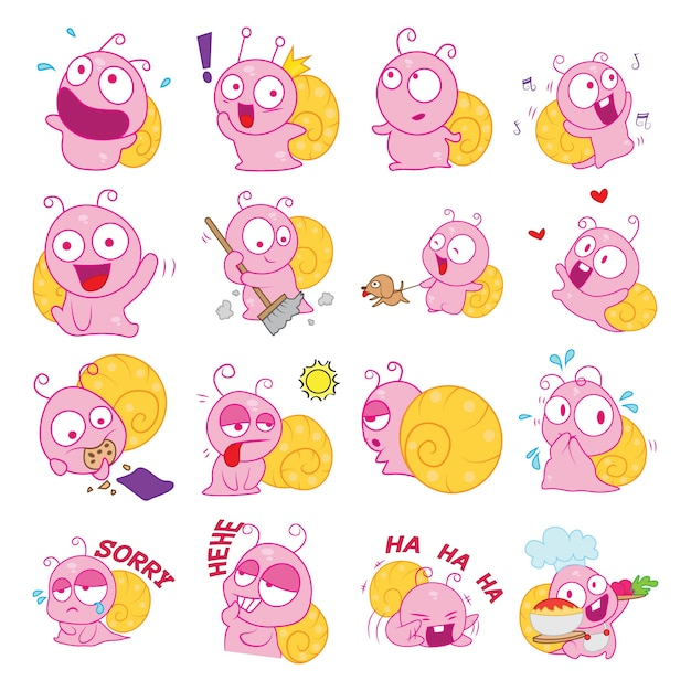 Illustrazione di cartoon snail set Vettore Premium