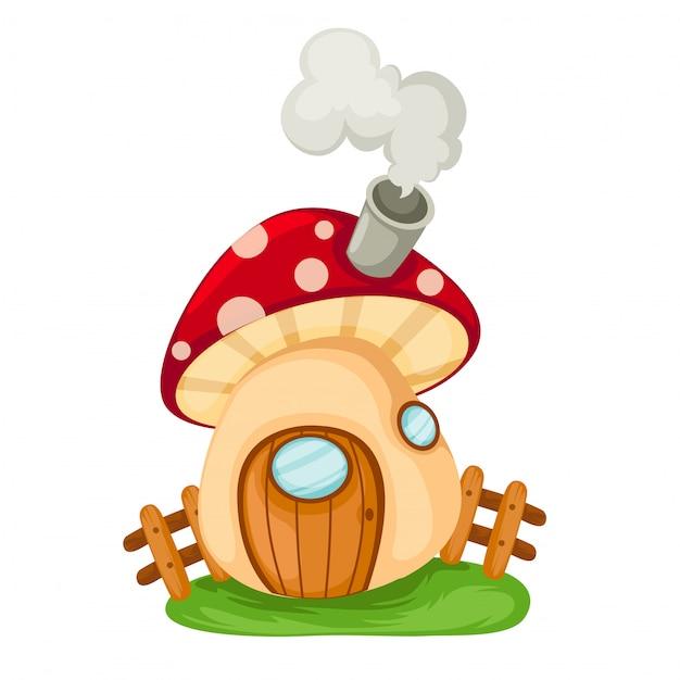 Illustrazione di casa dei funghi Vettore Premium