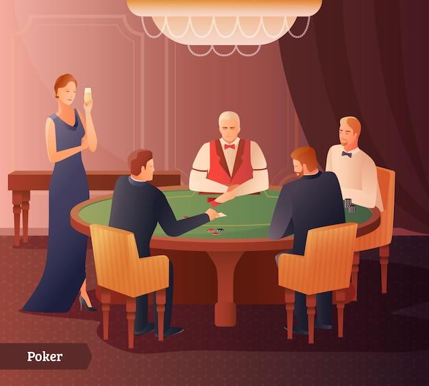 Illustrazione di casinò e poker Vettore Premium