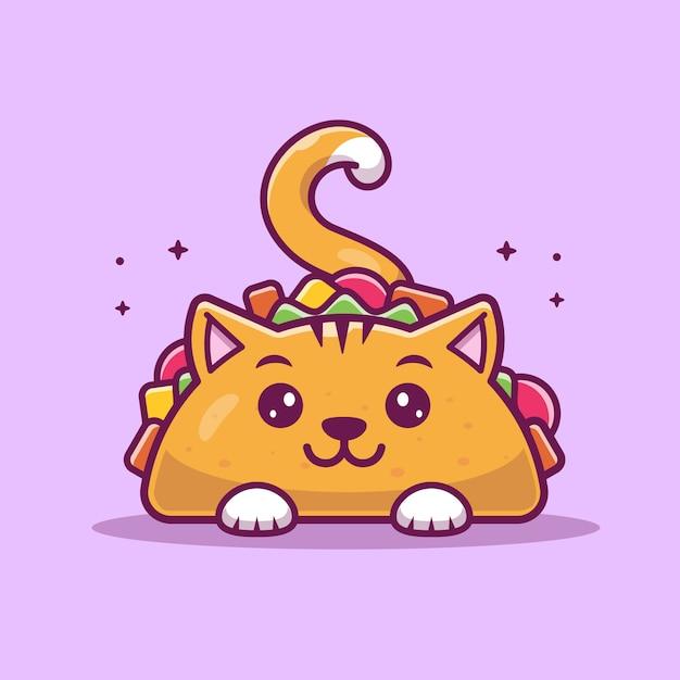 Illustrazione di cat taco mascot cartoon. simpatico personaggio di cat taco. Vettore Premium