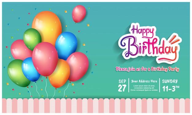 Illustrazione di celebrazione del manifesto di buon compleanno con il modello di compleanno Vettore Premium