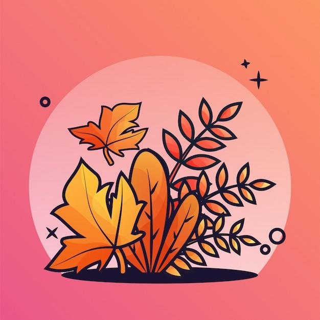 Illustrazione di cespuglio d'autunno Vettore Premium