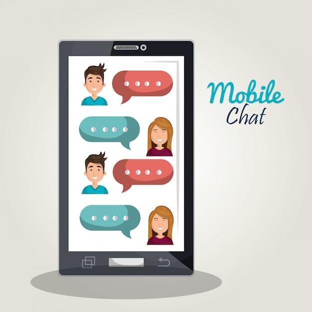Illustrazione di chat mobile Vettore Premium