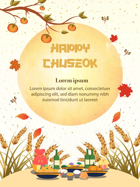 Illustrazione di chuseok. albero di cachi sulla vista di luna piena Vettore Premium