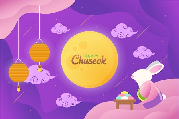 Illustrazione di chuseok felice con coniglio sveglio che fissa alla luna con le lanterne e la torta Vettore Premium