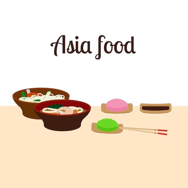 Illustrazione di cibo asia Vettore Premium