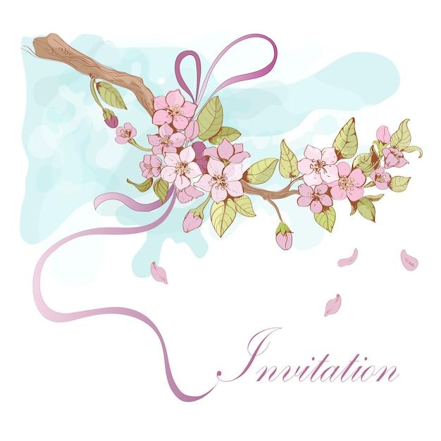 Illustrazione di ciliegio sakura con parola di invito Vettore gratuito