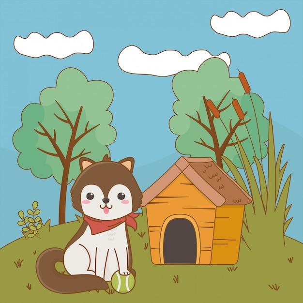 Illustrazione di clipart del fumetto del cane Vettore Premium