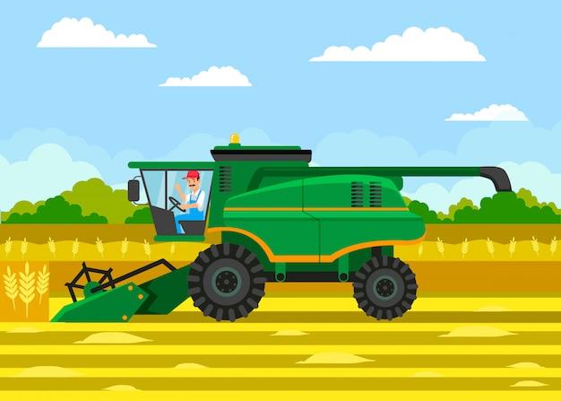 Illustrazione di colore piatto vettore di raccolta del grano Vettore Premium
