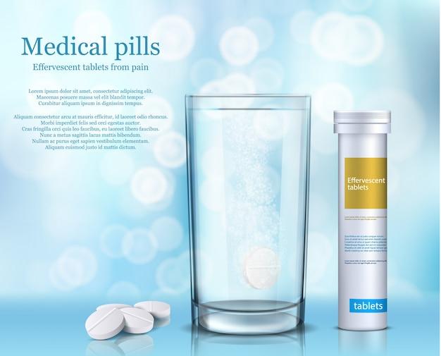 Illustrazione di compresse rotonde solubili in un bicchiere d'acqua e un contenitore cilindrico bianco. Vettore gratuito