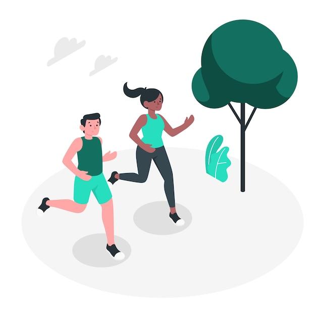 Illustrazione di concetto da jogging Vettore gratuito