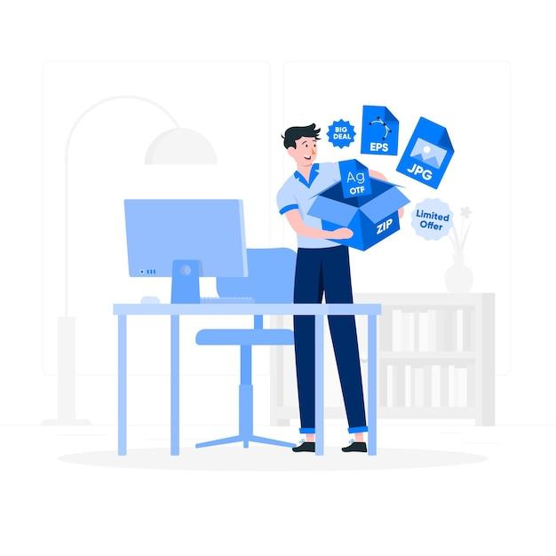 Illustrazione di concetto del pacchetto di file Vettore gratuito
