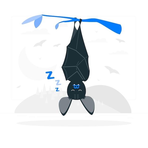 Illustrazione di concetto del pipistrello di sonno Vettore gratuito