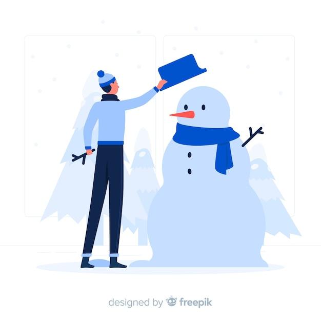 Illustrazione di concetto del pupazzo di neve Vettore gratuito