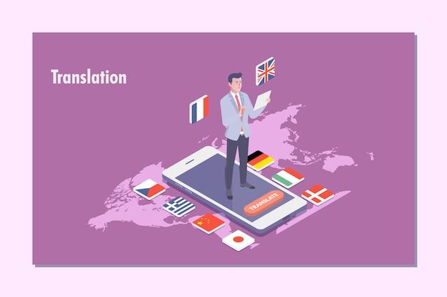 Illustrazione di concetto del traduttore multi lingua Vettore Premium