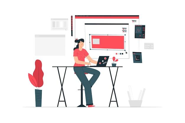 Illustrazione di concetto della ragazza del progettista Vettore gratuito
