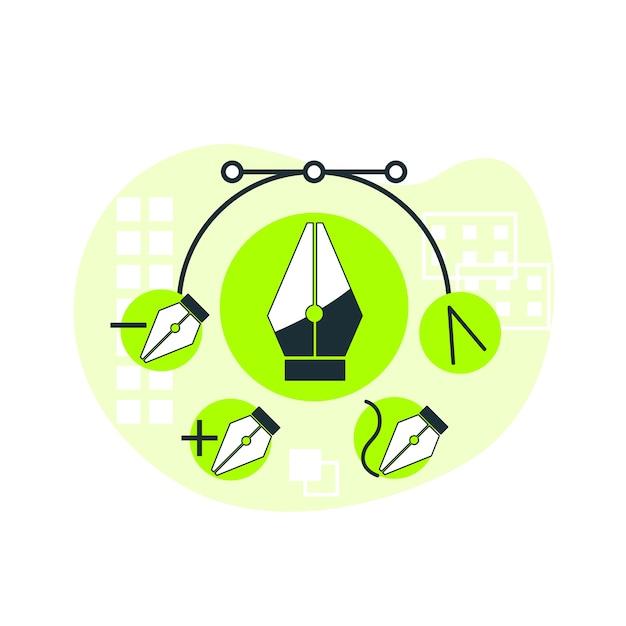 Illustrazione di concetto dello strumento penna Vettore gratuito
