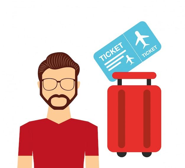 Illustrazione di concetto di aeroporto, carattere di uomo con valigia e biglietto Vettore gratuito