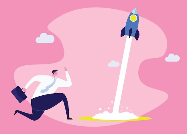 Illustrazione di concetto di affari di un uomo d'affari corrente che corre con un razzo Vettore Premium