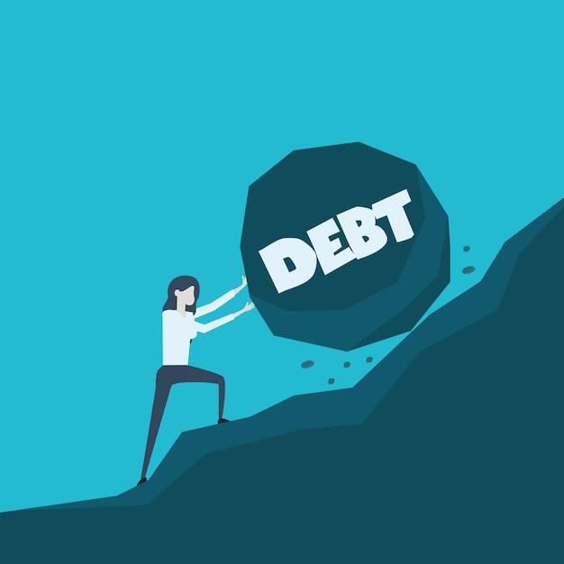 Illustrazione di concetto di affari di una donna di affari che spinge grande pietra con il debito del messaggio sul suo modo fino alla cima Vettore Premium