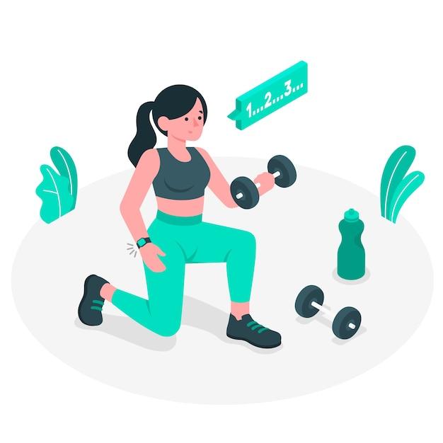 Illustrazione di concetto di allenamento Vettore gratuito