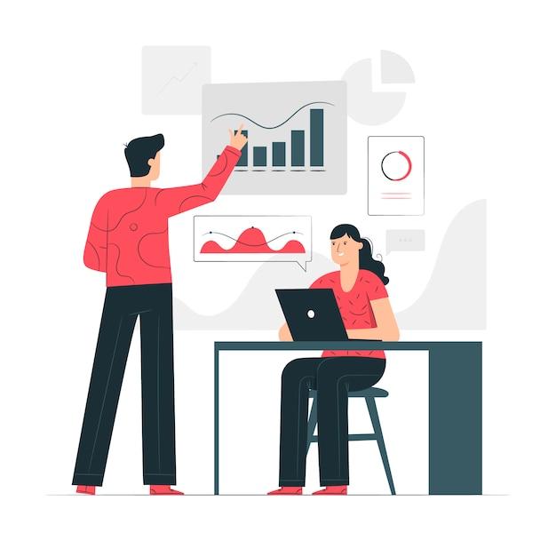 Illustrazione di concetto di analisi dei dati aziendali Vettore gratuito