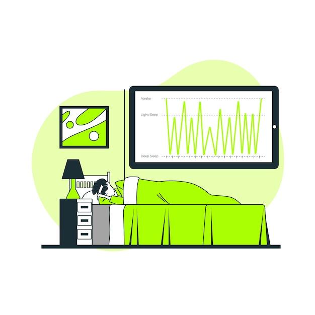 Illustrazione di concetto di analisi del sonno Vettore gratuito