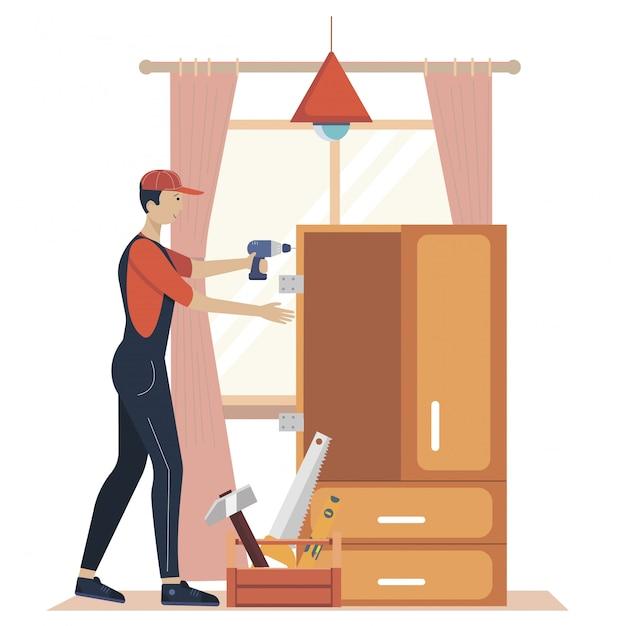 Illustrazione di concetto di assemblaggio di mobili. operai di fabbricazione con strumenti professionali. aiuto dal professionista del negozio di mobili. illustrazione piatta dei cartoni animati Vettore Premium