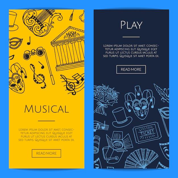 Illustrazione di concetto di banner web banner verticale elementi di teatro Vettore Premium