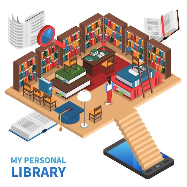 Illustrazione di concetto di biblioteca personale Vettore gratuito